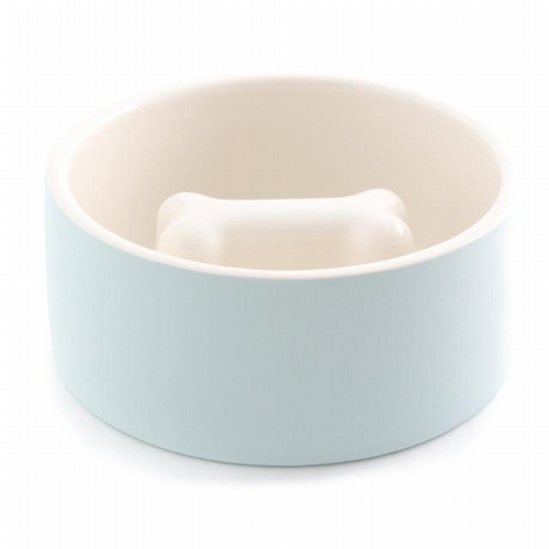 Self-Cooling Slow Feed Pet Bowl - Blue - Medium